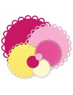 Fustella Sizzix Framelits Die Set 7PZ - Circles Scallop