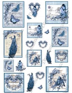 Carta Riso Decomania Scritte Musica e Farfalle Blu 5358