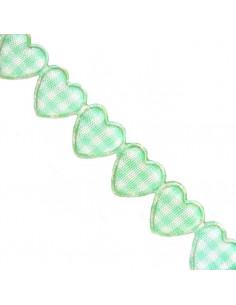 Nastro Cuori Quadretti Tiffany imbottiti 1,5cm x 1mt