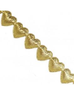 Nastro Cuori Oro imbottiti 1,5cm x 1mt