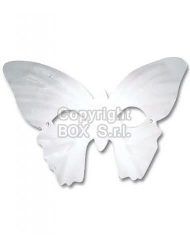 Maschera farfalla in plastica bianca