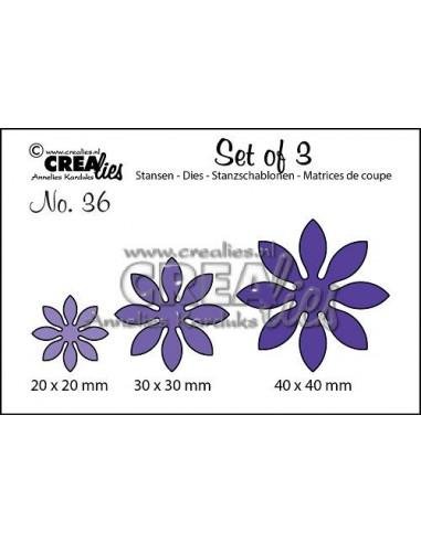 Fustella Set of 3 dies n.36, Flowers 18 CLSet36