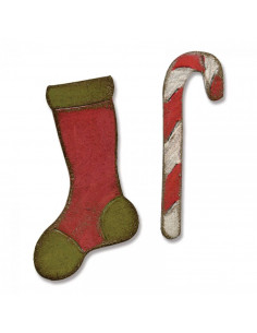 Fustella Sizzix M&S Magnetic Mini Stocking & Candy Cane 658775