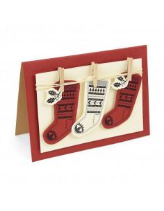 Fustella Sizzix Framelits Set 2Pz w/Stamps - Fairisle Stocking 662166