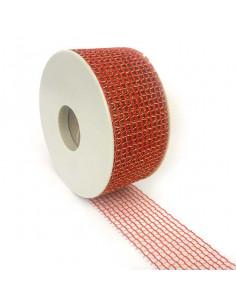 Nastro rete Rosso/Oro 50mm x 3mt