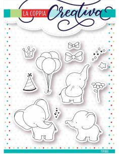 Set 12 Timbri La Coppia Creativa Elefanti TU247