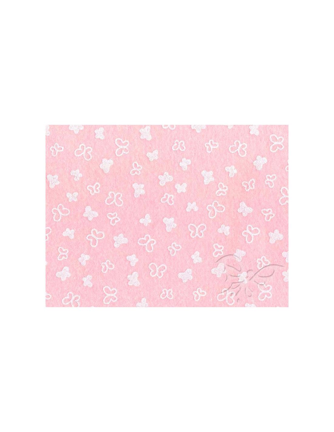 Feltro 1mm 30x40cm Farfalle Rosa Pastello Bianco 25017344