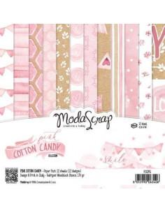 SET 12 fogli CARTA Modascrap 15x15cm PINK COTTON CANDY