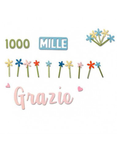 Fustella Sizzix Thinlits - Grazie mille 662625
