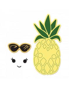 Fustella Sizzix Framelits Set 2Pz w/Stamps - Sunny Pineapple 662933