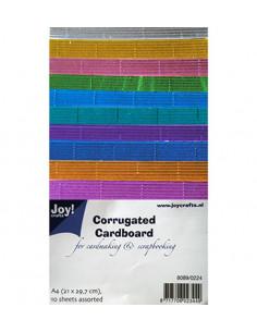 Set 10 Fogli Colorati Cartoncino Ondulato Metallizzato A4