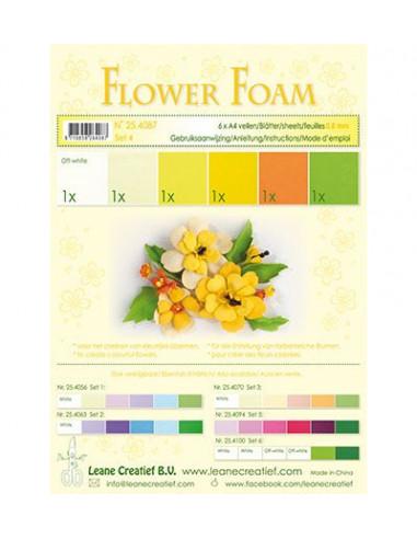 Set 6 fogli A4 Flower Foam 4 multicolore 0,8mm