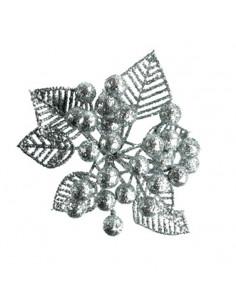 Bacche con foglie GLITTER ARGENTO h.15cm PX15464S
