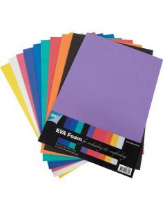 Set 10 fogli colori assortiti Gomma Eva A4 1mm