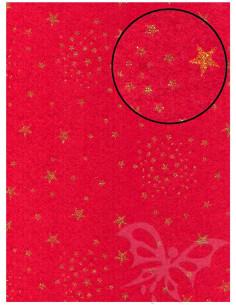 Panno stampato Rosso Natale - Stelle Oro Glitter 1mm 30x40cm
