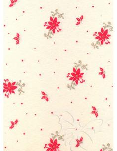 Panno stampato Poinsettia Panna-Rosso 1mm 30x40cm