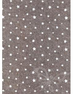 Panno stampato Stelline Marrone melange-Bianco 1mm 30x40cm