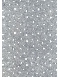Panno stampato Stelline Grigio melange-Bianco 1mm 30x40cm
