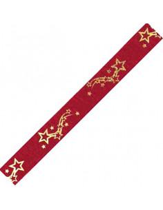 Nastro Rosso Stelle Oro 35mm x 5mt