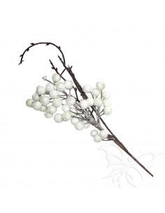 Bacche floccate Bianche 30cm PBXH005