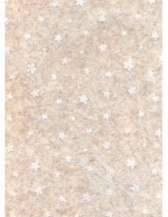 Panno stampato Stelline Panna melange-Bianco 1mm 30x40cm