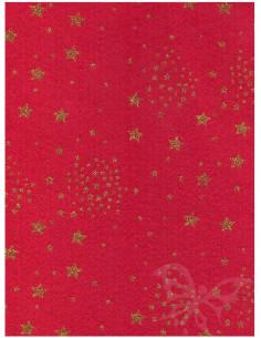Panno stampato Rosso Scuro- Stelle Oro Glitter 1mm 30x40cm