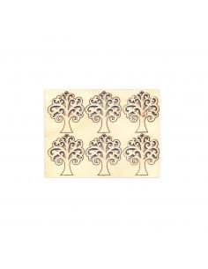 Set 6pz Sagoma Albero della Vita in multistrato 3,6 x 4,1 x 0,4cm