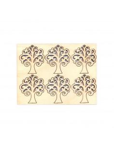 Set 6pz Sagoma Albero della Vita in multistrato 4,7 x 5,3 x 0,4cm
