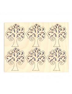 Set 6pz Sagoma Albero della Vita in multistrato 7 x 6 x 0,4cm