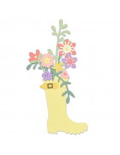 Fustella Sizzix Thinlits Set 17Pz - Rain Boot Planter 663322