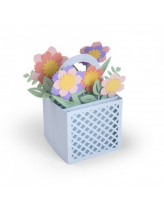 Fustella Sizzix Thinlits Set 12Pz - Card in a Box, Flower Basket 663578