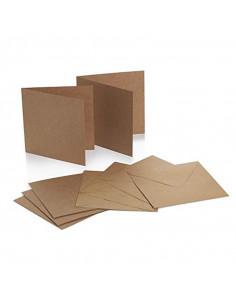 Set 50 Envelopes KRAFT 120gr 14x14cm with folded ticket