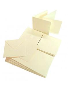 Set 50 Envelopes IVORY 120gr 14x14cm with folded ticket