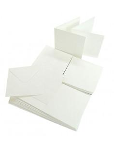 Set 50 Envelopes WHITE 120gr 14x14cm with folded ticket