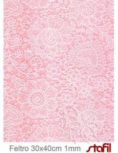 Foglio FELTRO 30x40cm 1mm PIZZO Rosa pastello - Bianco