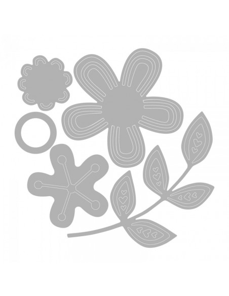 Fustella Sizzix Thinlits Set 5Pz - Intricate Garden Flowers 660869