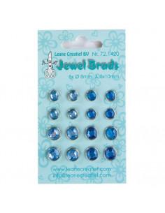 Set 16 Perle fermacampioni celesti e azzurre 8x 8mm e 8x10mm