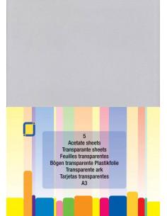 Set 5 fogli Acetato Trasparente A3 0,25mm
