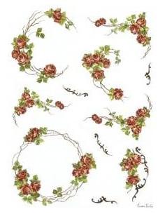 carta riso roselline rosse
