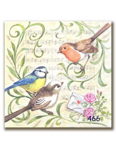 Tovagliolo uccellini sul pentagramma
