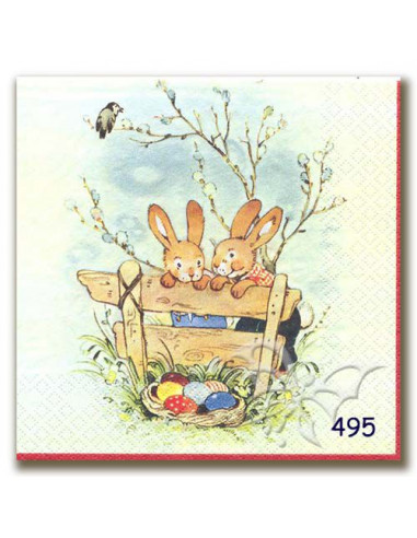 Tovagliolo coniglietti sulla panchina