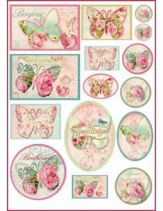 Carta riso formato A4 Farfalle Greetings riquadri