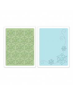 Sizzix Textured Impressions Embossing Folders 2PK - Winter Snowflakes Set