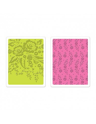 Sizzix Textured Impressions Embossing Folders 2PK - Floral Tapestry & Sweet Blooms Set