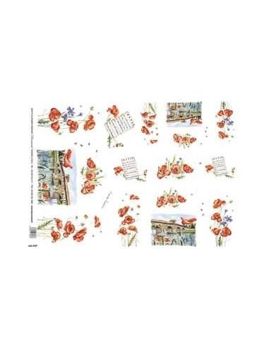 carta riso papaveri