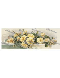 Carta decoupage rose gialle tavolo