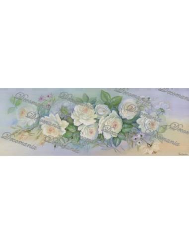 Carta decoupage rose bianche 25x70cm M1138