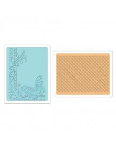 Sizzix Textured Embossing Folders 2PK - Butterfly Lattice Set