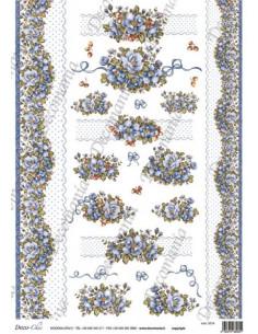 Carta riso fiori azzurri e pizzi