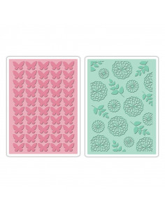 Sizzix Textured Impressions Embossing Folders 2Pz Butterfly & Garden Set